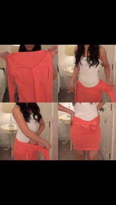 Love this DIY tshirt into cute skirt!