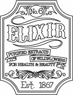 Elixir Apothecary Label design (UTH3327) from UrbanThreads.com