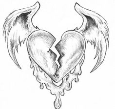 Winged Heart by thecandylandsniper – Graffiti World Sad Drawings, Art Drawings Sketches Simple, Dark Art Drawings, Pencil Art Drawings, Heart Pencil Drawing, Drawing Drawing, Drawings Of Hearts, Drawing Tips, Broken Heart Drawings