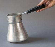 Vintage Turkish coffee pot big aluminum coffe pot by SovietEra