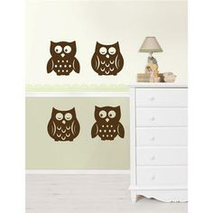 Owl nursery decor idea with fun decals Owl Espresso Silhouettes Wall Decals - WallPops for Baby Peel and Stick Wall Art