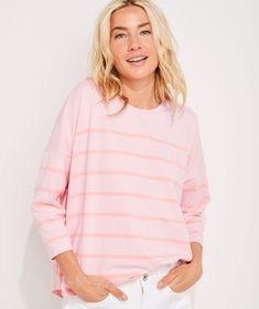 Shop Striped Deluxe Tee at vineyard vines Pink Clouds, Oversized Shirt, Striped Tee, Vineyard Vines, Fall Outfits, Tees, Shirts, Feminine, Clothes For Women