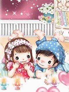 Cute Young Love love cute kiss anime kids animated kawaii gif
