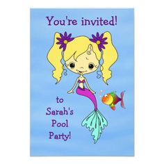 Mermaid Fun Birthday Party Invitation