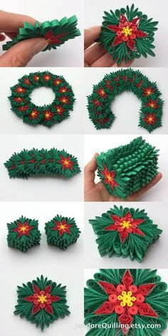 Snowflakes Poinsettia Green Red Yellow Christmas Tree Decoration Winter Ornaments Gifts Toppers Filler Office Corporate Paper Quilling Art
