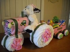 John Deere Tractor and Wagon for Girls by ShelvasDiaperCakes, $75.00