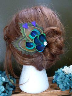 Peacock feather hair clips