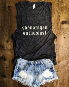 Shenanigan Enthusiast Muscle Tee in Charcoal/White Workout Top, Muscle Tank by everfitte