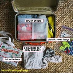 Layer dryer sheets between your clothes to keep them smelling fresh, and slip in an empty pillow case for dirty laundry. | 21 Clever Packing Tricks That Will Make Your Trip So Much Easier