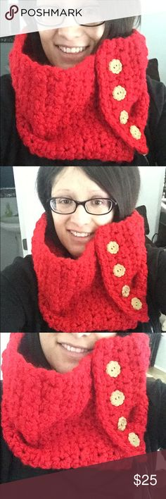 Crocheted button scarf Crochet red button scarf. Adult large with four wooden buttons for easy open and close.   Handmade so if you need measurements please list in comments below but only size available handmade Accessories