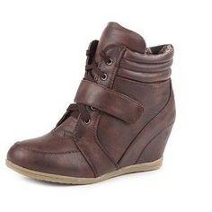 Dark Brown Sneaker Wedges