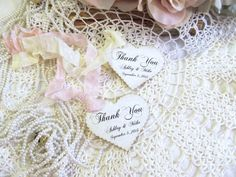 Wedding Favor Heart Tags w/ribbons  Thank you by auntiesjammies