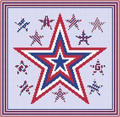 Patriotic Stars cross stitch pattern.