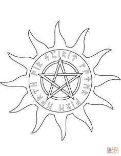 Wiccan Pentagram With Five Elements