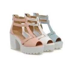 T Straps Peep Toe Platform Sandals High Heels Chunky Heel Pumps 1954 – Shoeu Chunky Heel Platform Sandals, Chunky Heel Shoes, Chunky High Heels, Peep Toe Platform, Thick Heels, Chunky Sandals, Platform Shoes, Blue Heels, Blue Sandals