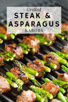 """Grilled Steak and Asparagus Kabobs are a spring grilling staple. Marinated steak and fresh asparagus cooked on my Weber Genesis II is the perfect way to kick of my sponsored relationship with The Home Depot for the """"Always-On"""" Grill Campaign. Our goal is Beef Recipes, Cooking Recipes, Healthy Recipes, Recipes For The Grill, Best Bbq Recipes, Cooking On The Grill, Barbecue Recipes, Best Food To Grill, Weber Grill Recipes"""