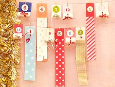 Roll-Up Christmas Advent Calendar - Mr Printables--as they are unrolled, they make a Christmas bunting. :-)