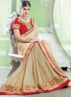 Astonishing Cream Georgette Embroidered Work Designer Wedding Saree