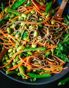 Sugar snap pea and carrot soba noodles. Get the recipe.