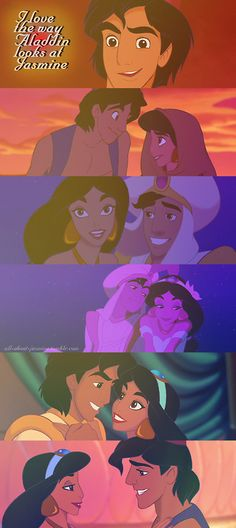I think one of the big reason that this is my favorite Disney movie because of how Aladdin looks at Jasmine. Walt Disney, Disney Magic, Disney And Dreamworks, Disney Pixar, Disney Characters, Disney Princesses, Punk Disney, Disney Dream, Disney Love