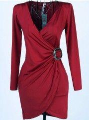 Ladylike Party V Neck Long Sleeve Chiffon  Bodycon-dress