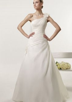 A line One Shoulder Organza Floor Length Court Train Wedding Dress With Ruching