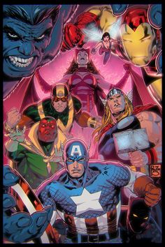 The Avengers by George Perez, colours by EagleGosselin on DEVIANTART.