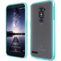 ZTE Zmax Pro Carry Z981 Hard Cover and Silicone Protective Case - Hybrid Transparent Clear/ Teal Bumper 1