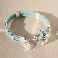 Nautical, sterling silver anchor bracelet, waterproof Mint seafoam cord - New Haven Bracelet