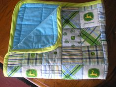 Cute and cuddly John Deer quilt - perfect for a baby shower!