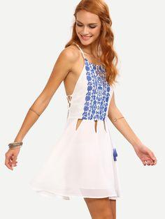 Cutout+Lace-Up+Side+Printed+Chiffon+Cami+Dress+-+White+18.99