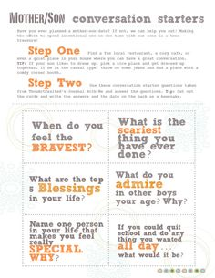 Mother-Son Conversation Starters. Downloadable with beautiful ideas