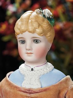 The Lifelong Collection of Berta Leon Hackney: 202 German Bisque Doll with Fancily Sculpted Ruffled Collar, Model 101, by C.F. Kling