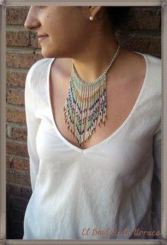 El Baúl de la Urraca: TENDENCIA PRIMAVERA-VERANO 2013 (3): Tutorial Collar de flecos (Fringe necklace of beads)