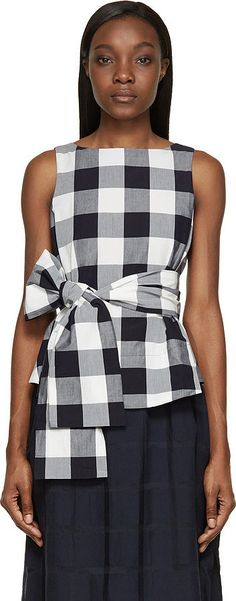 Studio Nicholson Gingham Toshima Top: Studio Nicholson White & Navy Gingham Toshima Top ($350)