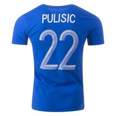 Nike Christian Pulisic Chelsea T-Shirt The Blues' top signing of Pulisic is making his mark in the Premier League.Support the American international.Screened graphics include player name and number on the back. Nike World, Christian Pulisic, World Soccer Shop, Soccer Gear, Chelsea, Blues, T Shirt, Premier League, Gift Guide