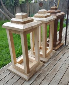 Wood crafts Wood diy Staining wood Wooden lanterns Diy lanterns Large lanterns - How many large lanterns does one need Just as easy to make several onc - Large Lanterns, Wooden Lanterns, Large Candles, Red Candles, Scrap Wood Projects, Easy Woodworking Projects, Woodworking Tools, Woodworking Furniture, Wood Crafts