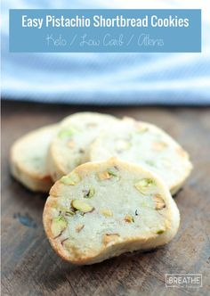 Easy Keto Pistachio Shortbread Cookies - Gluten free, low carb, atkins