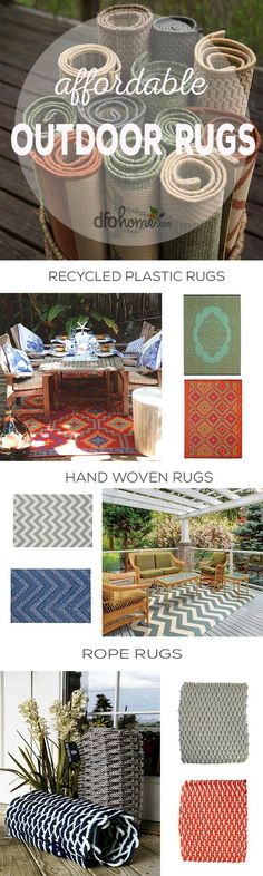 Shop affordable outdoor rugs in ANY style at DFOhome.com! With endless options to choose from you are sure to find a keeper. If you adore hand woven rugs, we've got you covered! 100% recycled plastic rugs? We have those too :) Shop the perfect rug for your outdoor space today!