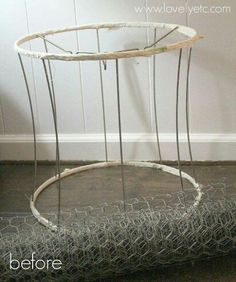 Repurpose recycle reuse lampshade frame with chicken wire would be lamp shade chicken wire basket keyboard keysfo Gallery