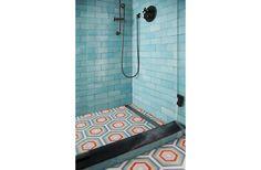 Nina Farmer Interiors features a shower floor with popham deisgn hex target handmade cement tiles