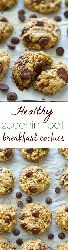 Healthy Zucchini Oat Breakfast Cookies Jam-packed with all kinds of heart-healthy goodness, sneaky zucchini, and tons of gooey chocolate, these soft 'n' chewy breakfast cookies are the best way to start the day! Whole and Heavenly Oven Healthy Cookies, Healthy Desserts, Healthy Recipes, Oat Cookies, Healthy Breakfast Cookies, Zucchini Breakfast, Heart Healthy Meals, Oatmeal Breakfast Cookies, Protein Recipes
