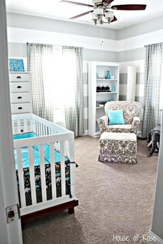 Grey & white until the sex if the baby is known and then add pink or blue colors. Later when they grow older you can do so much with the room too since its all grey!! Love this idea @ DIY Home Design @ DIY House Remodel