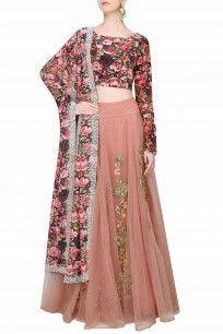 Pink Dori And Gota Thread Work Lehenga Skirt With Black Rose Printed Blouse Set #perniaspopupshop #bhumikasharma #floral #gotawork #prints #clothing #shopnow #happyshopping