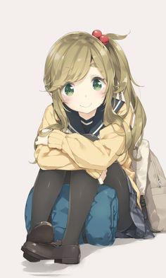 Cute, blonde, Aoi Inuyama, Yuru Camp, 480x800 wallpaper