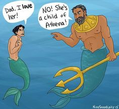 Percy and Poseidon as Ariel and Triton.