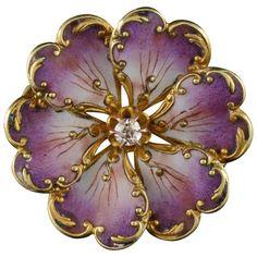 Art Nouveau Enamel & Diamond Pin, French