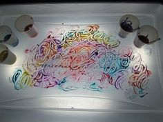 Light table idea for our DIY light table - painting. This is a regular with S, we use the finger painting paper right on top and the colors come through, and them look quite different once dried and hanging up.