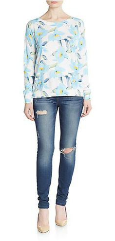 Joie   Eloisa Floral-Print Sweater   SAKS OFF