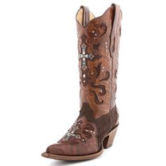 Cowgirl Clad Company - Corral Crystal Cross Brown Python Cowgirl Boot